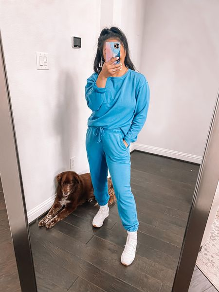 Super soft lounge set from target. Wearing a medium top and small in the joggers