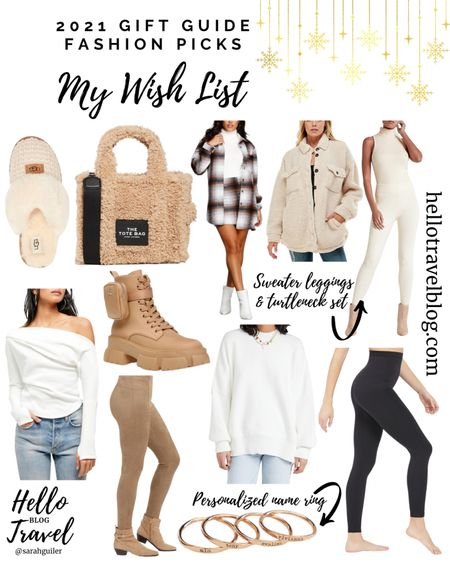 2021 gift guide: my wish list. Gifts for her. Gift ideas for her. Gifts for mom. Spanx faux leather leggings. Suede leggings. Plaid shacket. Tote bag. Ugg slippers. Christmas gift ideas.   #LTKSeasonal #LTKHoliday #LTKGiftGuide