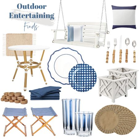 Blue and white outdoor entertaining finds all in stock!    http://liketk.it/3jK4t #liketkit @liketoknow.it @liketoknow.it.home #LTKhome #LTKsalealert #LTKunder100 outdoor swing, outdoor dishes, outdoor plates, bamboo silverware, outdoor stools, placemats, patio table, outdoor pillows, outdoor glassware, blue napkins, napkin rings, coastal home decor