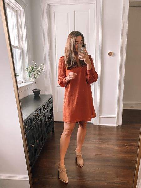 Fall dress under $100, wearing a small + braided mules that make your legs look 💯