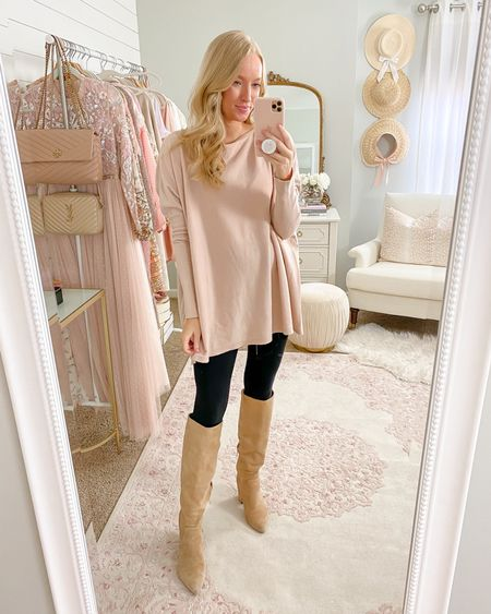 This is the best comfy sweater to wear with leggings. I own a few colors and have had this color for almost 2 years now! Wearing a S/M and it's 15% off with code AMANDA15   BUMP friendly // tunic sweater // long sweater