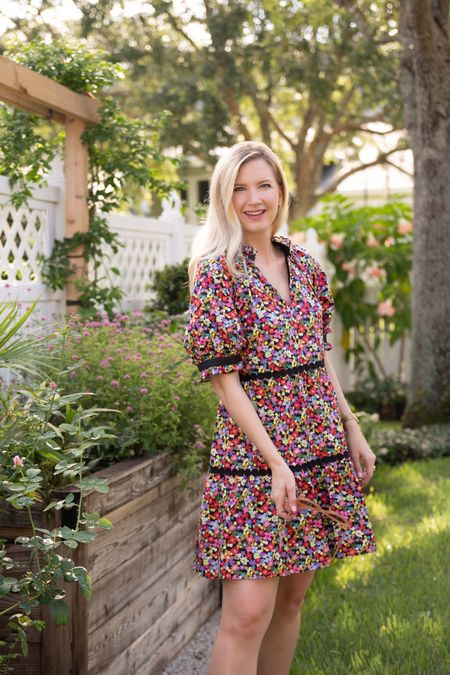 Multi colored floral swing dress.