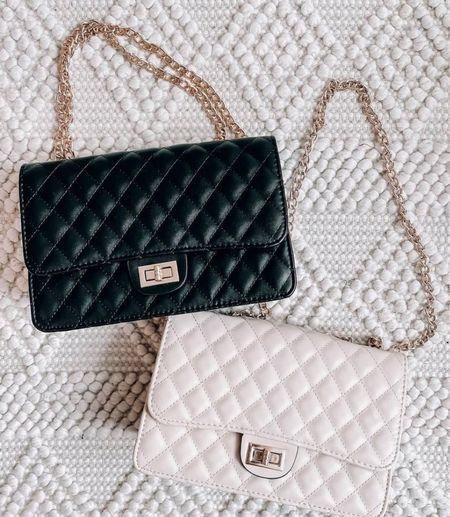 Love these handbags!     Cute handbags, black handbag, white purse, black purse, outfit inspo, cute purses, quilted purses, trendy purses  #LTKunder50 #LTKsalealert #LTKstyletip