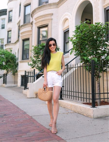 Petite-friendly white denim shorts   •Express high waisted raw hem jean shorts size 00 •Padded shoulder sweater xxs •Quilted sandals size 6 •Also linked similar aviator sunglasses •My exact woven straw tote is sold out but I linked a similar style from the same brand  #LTKSeasonal #LTKunder100 #LTKstyletip http://liketk.it/3g0Ej #liketkit @liketoknow.it