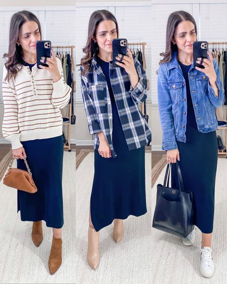 Fashion capsule week 1: ways to style an Amazon black midi dress - layer with a striped sweater, layer with a plaid button down top, go casual with a denim jacket and sneakers   #LTKstyletip #LTKunder50 #LTKunder100
