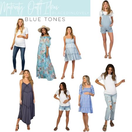 Cute Maternity styles in blue tones! These maternity styles are comfy and great quality. Pink Blush has a discount code at the top of their website that changes daily. Today it is code SWEETDEAL for 30% off dresses. 25% off bottoms, and 20% off tops.  I wear a size medium unless otherwise noted!  #LTKbump #LTKstyletip #LTKsalealert