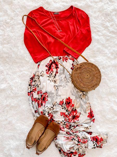 Floral maxi dress, amazon fashion, mama necklace, woven bag, ballet flats  #LTKSeasonal #LTKitbag #LTKunder50