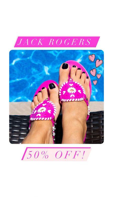 Jack Rogers sale! Jack Rogers Georgica sandals 50% off! Multiple colors available. Pink sandals, jelly shoes, jellies, georgica jellies   #LTKsalealert #LTKshoecrush #LTKgiftspo