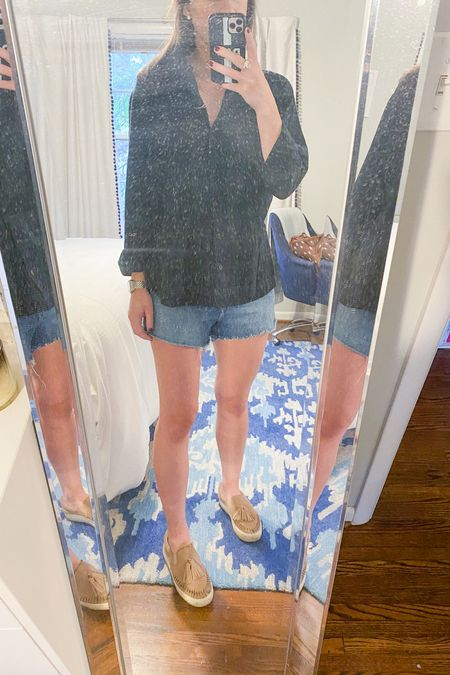 I love wearing a button down with shorts when I'm ready to wear a fall outfit but the weather isn't quite cooperating. This flannel button down is under $30 and comes in a variety of colors and prints! I've included a few of my favorite colors that are in stock currently. Y'all know how much I love these jean shorts and it's nice to see that there are still some on sale. I recommend sizing up one size! @liketoknow.it #liketkit #LTKunder50 #LTKunder100 http://liketk.it/2ZEGy