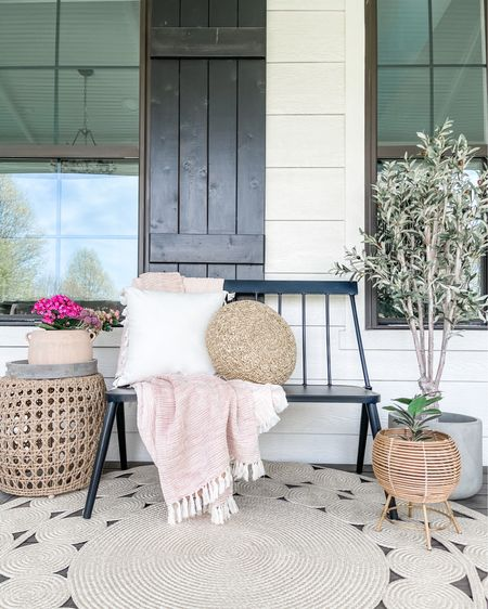 Front porch bench and decor🖤 http://liketk.it/3houD #liketkit @liketoknow.it #LTKstyletip #LTKhome #LTKfamily @liketoknow.it.family @liketoknow.it.home You can instantly shop my looks by following me on the LIKEtoKNOW.it shopping app