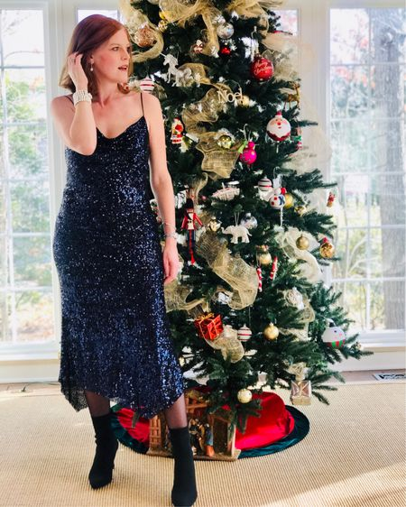 Not quite rockin' around the Christmas 🎄 tree yet, but getting there 😜 In love with this deep blue sequin dress from @zara. Perfect for holiday parties! Linked similar styles. Happy pre-Friday lovelies! 💋 Screenshot this pic to get shoppable product details with the LIKEtoKNOW.it shopping app @liketoknow.it #liketkit http://liketk.it/2I6qs