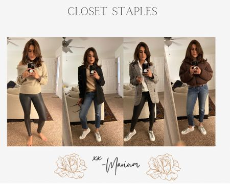 I wear the faux leather leggings in a small regular. Size up if I'm between sizes, small in blazers, small in the sweaters. A size small in the puffer jacket.  A white sneaker perks any outfit up. These are any closet basics. You can play around with so many combinations   #LTKworkwear #LTKsalealert #LTKstyletip