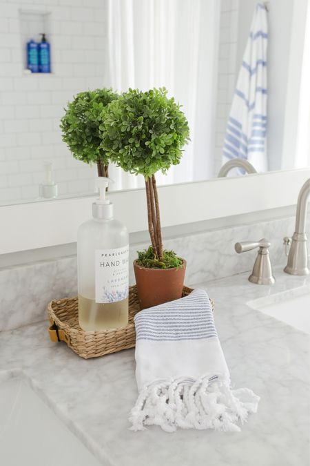 Spring bathroom ideas to freshen up your space. This is our kids bath brightened up and ready for spring.   Spring decor, Amazon finds, target finds, spring, bathroom, marble, #spring #ltkseasonal kids bathroom, hand towel   #StayHomeWithLTK #LTKunder100 #LTKhome