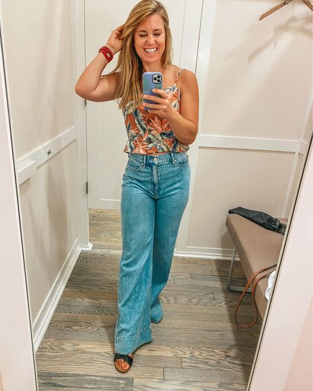 Say cropped peplum cami? Yes please! Obsessing over this top from @loft ! It fits tts and is perfect to pair with a high waist shorts or jeans, like these palazzo jeans from Loft!   Shop my daily looks by following me on the @liketoknow.it  shopping app http://liketk.it/3ivQK    #liketkit #LTKsalealert #LTKcurves #loft #peplum #cami #crop #summerstyle #highwaist #palazzo #denim #jeans
