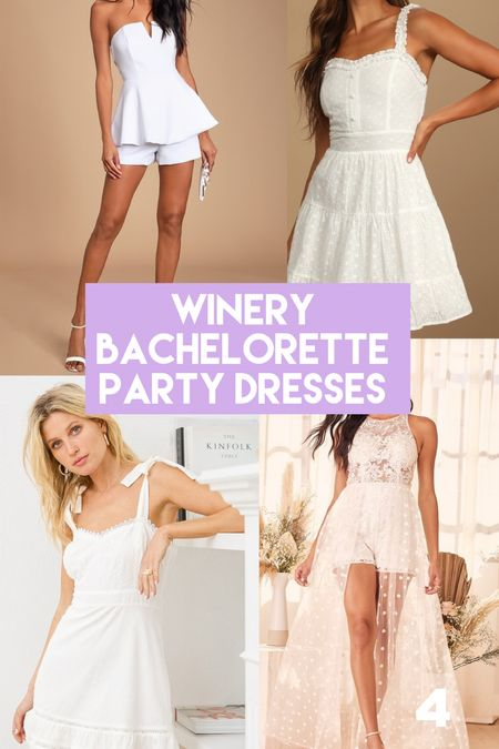 Bachelorette party dresses / white dress / winery outfit / summer outfits / bride   #LTKwedding #LTKunder50 #LTKunder100