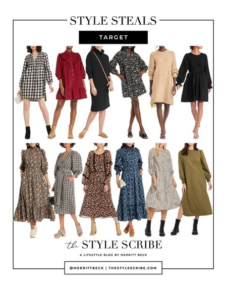 So many new fall dresses at Target right now! Here's a roundup of our favorite styles 🖤 Can't forget to mention they're all under $50!   #tssedited #thestylescribe #budgetfriendly #target #dresses #affordable #targetstyle  #LTKunder50 #LTKSeasonal