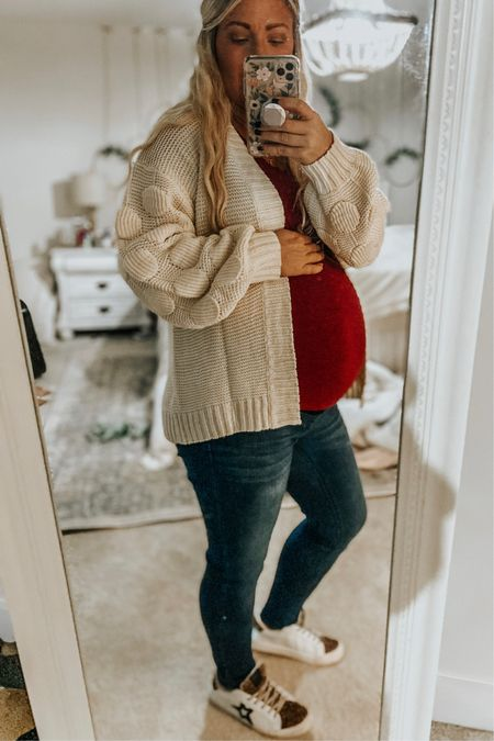 There's not much that makes me feel cute right now. 😂 But these shoes and this cardi 🏻  #LTKfamily #LTKbump #LTKunder50