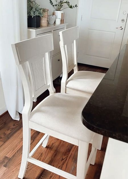 In love with these new counter bar stools! Was on the hunt was a classic style, and I really love the added touch of cane backing. Really impressed with the quality for the affordable price!   Bar stools. Counter stools. Overstock. Affordable home furniture. Budget-friendly home decor. Apartment furniture. Timless furniture.   #LTKunder100 #LTKhome