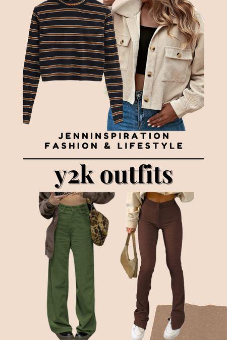 Y2K Outfits. Stripe crop top, corduroy jacket, wide leg pants, wide leg jeans. Perfect for fall season to wear back to school   #LTKsalealert #LTKbacktoschool #LTKSeasonal