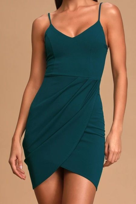 Forever Your Girl Teal Blue Bodycon Dress   Lulus Exclusive! Dance all night in the Forever Your Girl Teal Blue Bodycon Dress! Lightweight stretch knit falls from skinny straps, into a V-neck, princess-seamed bodice (with elastic at back), and a sexy, wrap skirt with a figure-flaunting fit.   Lulus, lulus finds, wedding guest, fall wedding guest, fall outfits, autumn, autumn outfits, fall, outfi ideas, fashion finds, fall fashion,