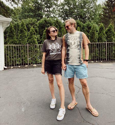 Junk food clothing t-shirts. Summer outfit. Memorial Day weekend. Rebecca Piersol Style. Grateful Dead t-shirt. Gorjana earrings.   #LTKstyletip #LTKSeasonal #LTKunder50