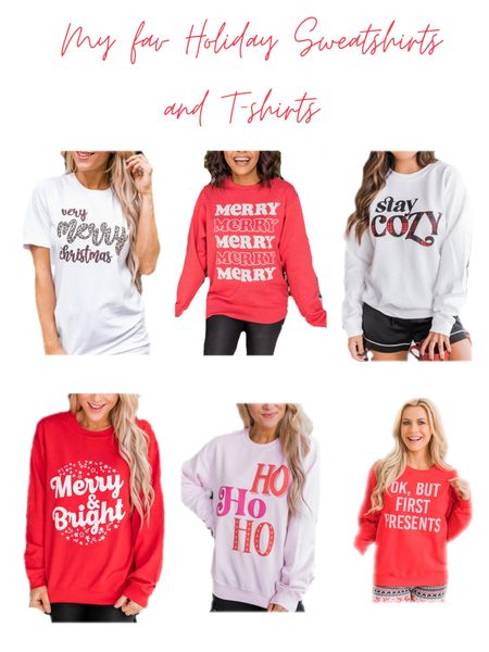 I so loving these adorable festive sweatshirts and tshirts!!! They are the perfect gift !! They are so soft and cozy! I wear a large!!  #LTKchristmas #LTKfamily #LTKcurves  #LTKunder50 #LTKgiftspo #StayHomeWithLTK