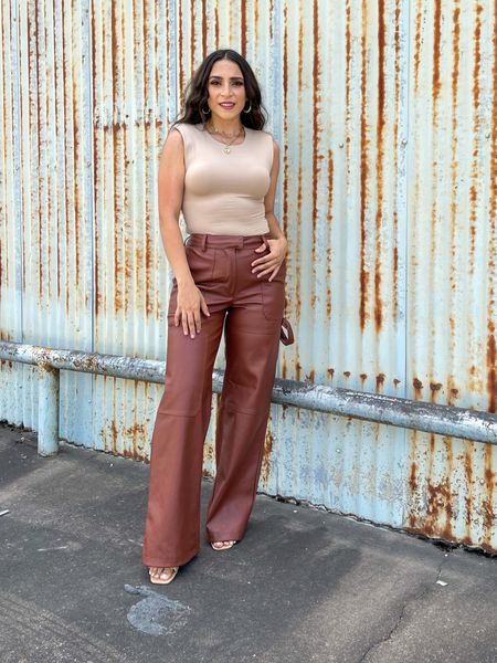Cute fall outfit with brown leather pants Fall Outfits Fall Family Photos Front Porch Decor  Fall Home DecorHome FurnishingsHalloween  #LTKunder50 #LTKstyletip #LTKsalealert