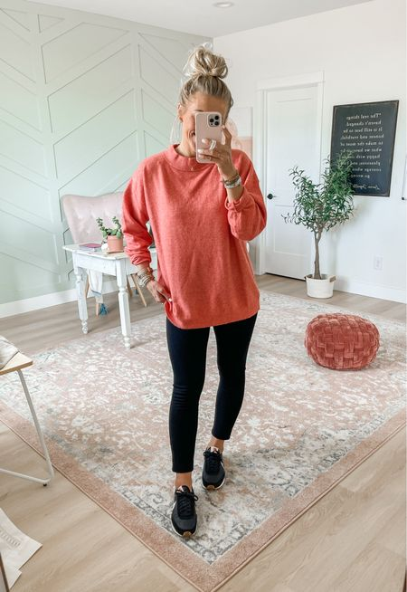 Slouchy mock next pullover sweater! Pairs perfectly with leggings. Wearing size medium here.   Use SARAHJOYxSPANX for 10% off the Spanx leggings and free shipping! Wearing medium in these leggings     #LTKunder50 #LTKsalealert #LTKSeasonal