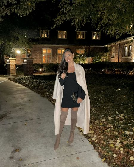 Fall dinner outfit - over the knee boots and black dress. #lbd #datenight #fallstyle   #LTKshoecrush #LTKstyletip