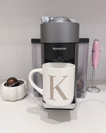 New initial mug for $5   target, Nespresso, pumpkin bowl, amazon, coffee maker   #LTKhome #LTKunder50 #LTKunder100
