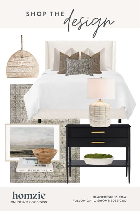 Modern classic bedroom, bedroom design, bedding, bedroom inspo, nightstand, table lamp, modern coastal, rug, throw pillows, bed pillows, headboard, bed,  . Receive your own custom e-design room plan visit homziedesigns.com   #LTKhome