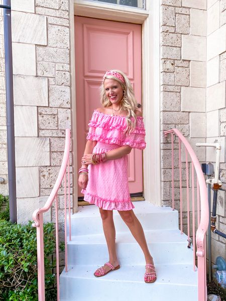 Pink ruffle dress from hazel and olive - not linked Amazon pink headband  Pink studded sandals TTS Target earrings  Gold initial necklace on sale on the Nordstrom sale  Budha girl bracelet stacks  Gold bracelets  Pink bracelet stack  Summer outfit  Accessories of the day    #LTKshoecrush #LTKunder50 #LTKstyletip