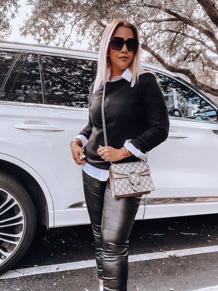 Spanx Joggers, faux leather joggers, cashmere sweater, white button-up shirt, Gucci bag, snake skin booties   #LTKSeasonal #LTKstyletip #LTKitbag