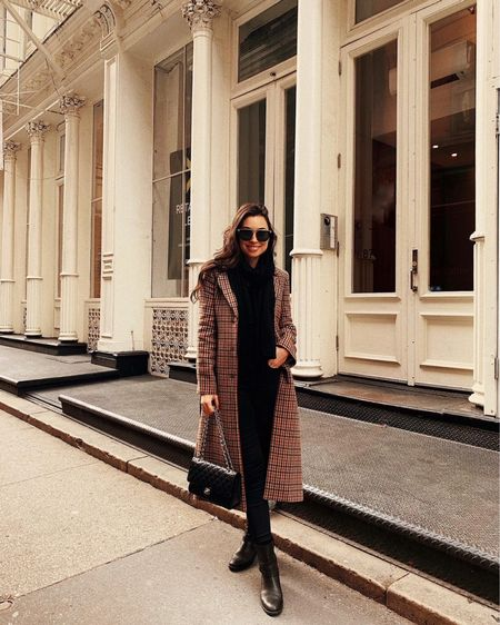 Plaid coat with leather over the knee boots.   #LTKshoecrush #LTKstyletip