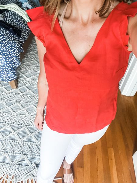 I LOVE this Boden top! Perfect for summer and great with my favorite white jeans!   #LTKstyletip #LTKSeasonal