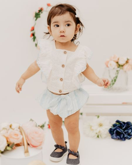 Summer baby girl look idea. Linked exact shoes & outfit. http://liketk.it/3gGCc @liketoknow.it #liketkit