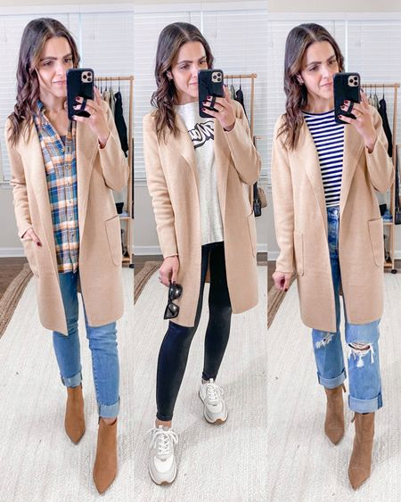 Fashion capsule week 2: ways to style a camel coatigan sweater blazer // layer over a plaid flannel top, skinny jeans, & booties. Layer over a graphic sweatshirt & faux leather leggings. Layer over a striped top & Levi's wedgie straight jeans. Fall outfit idea.   #LTKunder100 #LTKstyletip