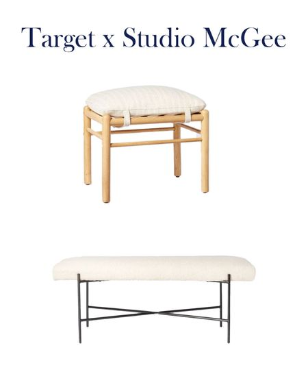 Target x Studio McGee Upholstered benches.