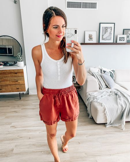 Target Shorts and Aerie tank under $30 for both! Shorts run larger- size down. I'm wearing a small but should have gotten xs!  #target #targetstyle #ae #liketkit #LTKsalealert #StayHomeWithLTK #LTKstyletip @liketoknow.it http://liketk.it/2Tsvw