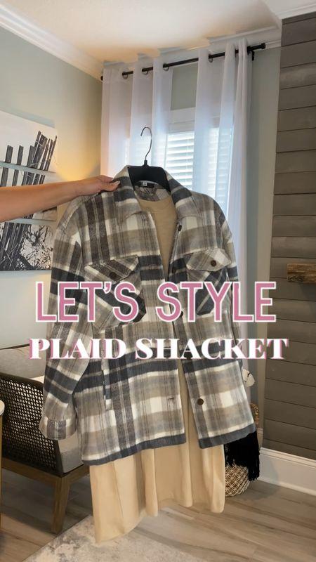 Plaid shacket and tshirt dress linked!   #LTKunder100 #LTKstyletip #LTKSeasonal