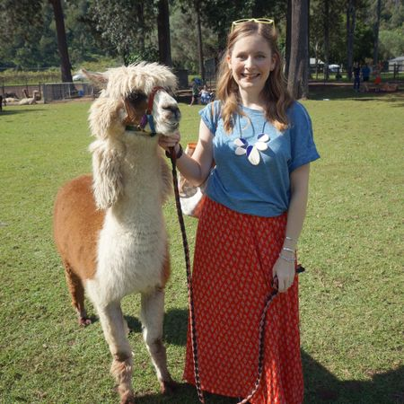 Colourful outfit with some cute little friends! Had the pleasure of taking Noodles and Pancake for a stroll at Mountview alpaca farm the other week 🦙 not sure if my kids or us grown ups were more excited 😂   Kept my outfit simple with this pretty thrifted red maxi skirt, beautiful blue tee and a statement necklace to dress it up a bit. The Louis Vuitton Neverfull was perfect for water bottles and of course my camera - took loads of pics of the kids cuddling alpacas ❤   ----------------------   ----------------- -------------------------------------  Screenshot this pic to shop the product details from the @liketoknow.it app, or click here: http://liketk.it/3grOg #liketkit @mountviewalpaca #mountviewalpaca #realeverydaystylepic #everydaystyle #realmumstyle #wearedonthestreet #nevervainalwayscolour #frankifriendsinfashion