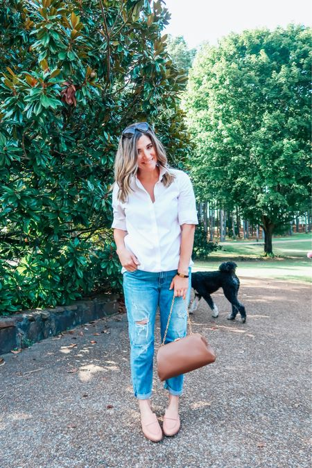 One of my favorite things about cooler weather is crisp white tops + jeans. Who else loves this classic combo?     #LTKitbag #LTKSeasonal #LTKunder50