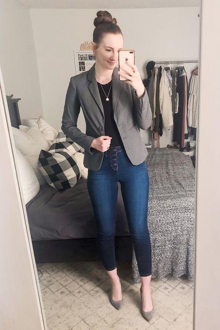 http://liketk.it/3ihkQ #liketkit @liketoknow.it #LTKworkwear black bodysuit, grey blazer, button fly jeans, grey pumps heels, work wear, office outfit, business casual, blazer with jeans