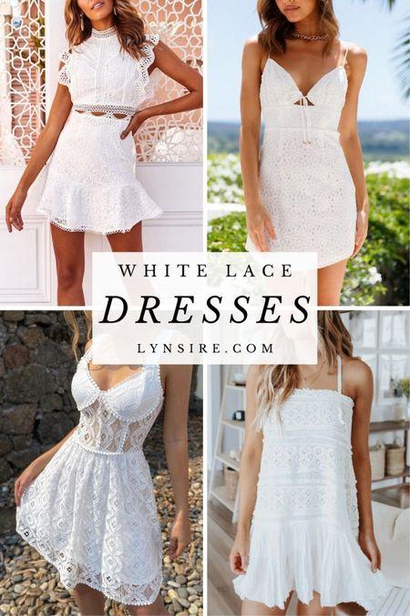 White lace dress ideas for a wedding, to travel or for Insta photos.   #LTKwedding #LTKunder100 #LTKtravel