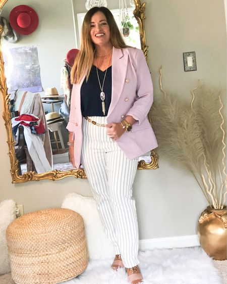 Pairing Lavender with Navy. This is my business casual look. I actually had the clearance to do a live lunch with some clients today. Progress 😀.  This blazer will be on repeat! Also wearing my @lovechicos #gifted brigitte slim striped pants ( amazing) .  I added my TB wedges and a chain belt.  How has your work days progressed?. . . . . . .     http://liketk.it/3czoa #LTKstyletip #LTKworkwear #LTKcurves #liketkit @liketoknow.it.family @liketoknow.it.home @liketoknow.it.europe @liketoknow.it You can instantly shop my looks by following me on the LIKEtoKNOW.it shopping app