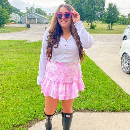 Loveshackfancy skirt Hunter rain boots heart cat eye sunglasses white long sleeve tshirt   #LTKstyletip #LTKSeasonal #LTKshoecrush