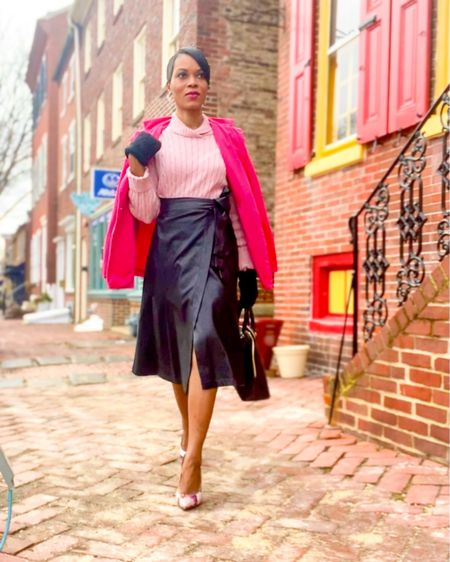 For today's look, I'm wearing a faux leather wrap skirt with a pink ribbed knit sweater. I boosted the look with a sophisticated fuchsia pink blazer and animal print pumps. Finished the look with cozy warm gloves and a black handbag. All selected products are under $100  You can instantly shop my looks by following me on the LIKEtoKNOW.it shopping app    #LTKworkwear #LTKunder100 #LTKstyletip #liketkit @liketoknow.it http://liketk.it/38uby