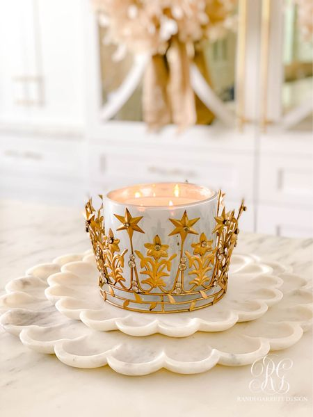 Crown candle on marble petal tray for beautiful fall decor idea. This vanille candle smells amazing for fall.   #LTKunder50 #LTKSeasonal #LTKhome