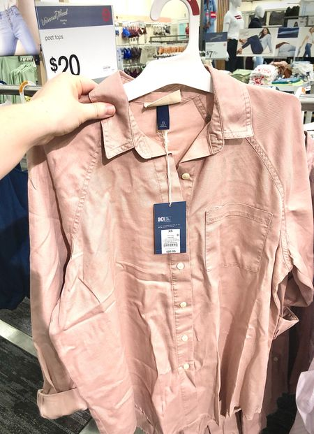 Target has so many layering pieces like this blush button down. Throw it over a t-shirt with some sneakers!   #LTKSeasonal #LTKstyletip #LTKunder50