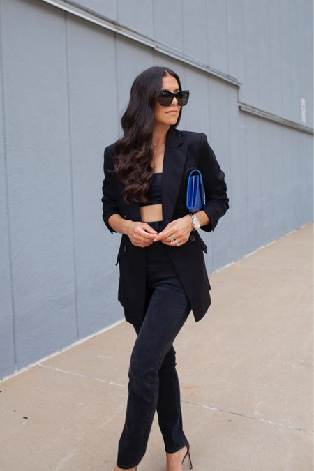 Black blazer and denim for date night outfits, casual style, Stuart Weitzman, Nudistsong High-Heel Sandals, HM, Revolve Style, Shopbop, Cat Eye Sunglasses, HM black blazer, black crop, black denim, black heels, sunglasses, watch, earrings, Workwear, Olivia Jeanette, Style Blogger, Trendy Style, Outfit Ideas, White dresses, Wedding guest dresses, Teacher outfits, Labor Day, Nordstrom Sale, Work wear, Fall outfits, Bachelorette outfits, Maxi dress, Cocktail dress  #LTKworkwear #LTKfit #LTKunder100